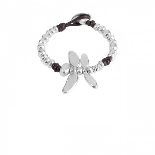 Uno De 50 - Free Dragonfly, Silver Plated and Leather Bracelet, Size Medium
