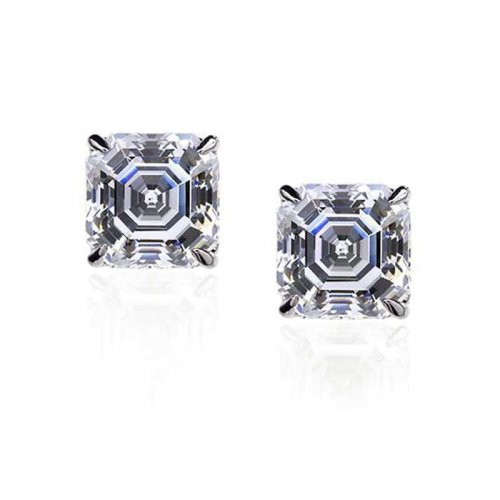 Carat London - Cubic Zirconia Set, 9ct. White Gold Stud Earrings