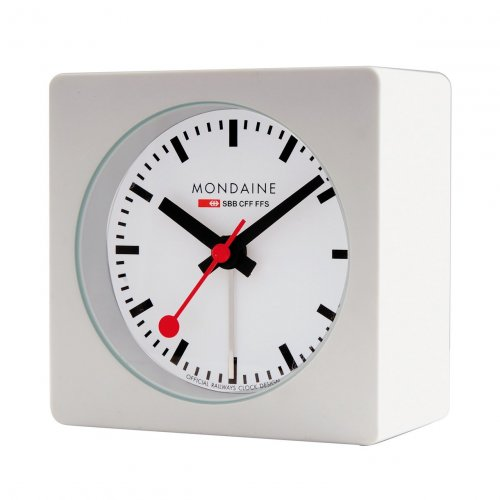Mondaine - White Case Alarm Clock
