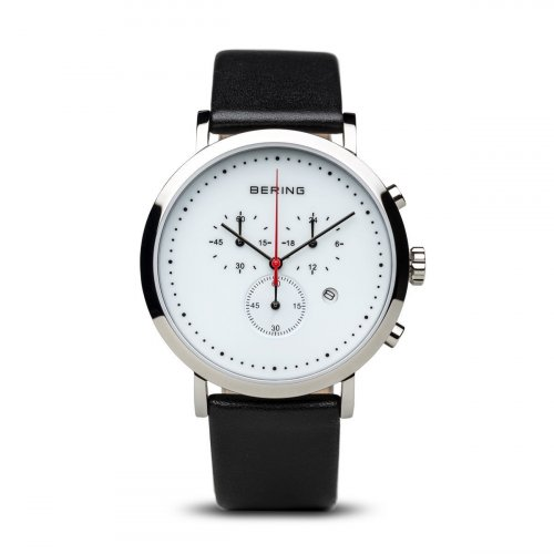 Bering - Men's Classic Collection, Stainless Steel and Black Leather Chronograph Watch