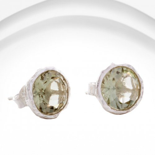 Banyan - Green Amethyst Set, Silver Stud Earrings
