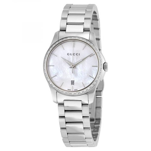 Gucci - Ladies' G-Timeless, Diamond 0.29 Carats Set, Stainless Steel Mother of Pearl Dial Watch