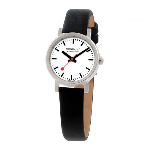 Mondaine - Ladies, Stainless Steel and Black Leather Watch