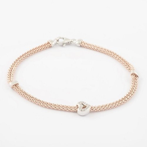 Virtue - Cubic Zirconia Set, Sterling Silver, Rose Gold Plated Heart Bracelet