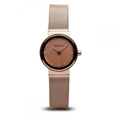 Bering - Ladies Classic, Swarovski Crystal Set, Rose Gold Plated Ultra Slim Watch