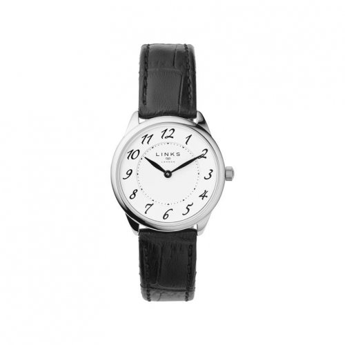 Links of London - Narrative, Stainless Steel Black Strap Watch