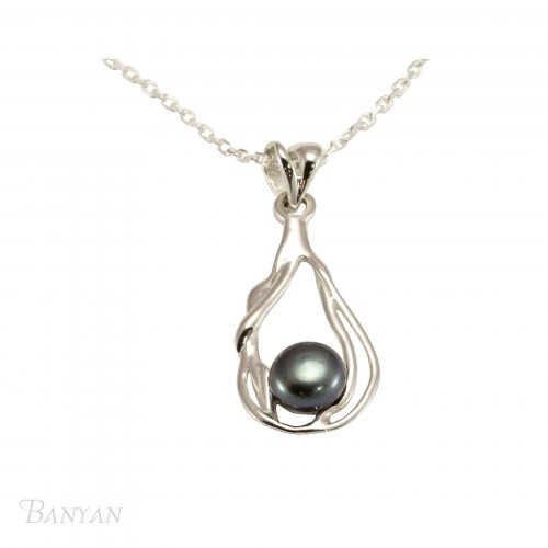 Banyan - Black Freshwater Pearl Set, Sterling Silver Pendant and Chain, Size 18