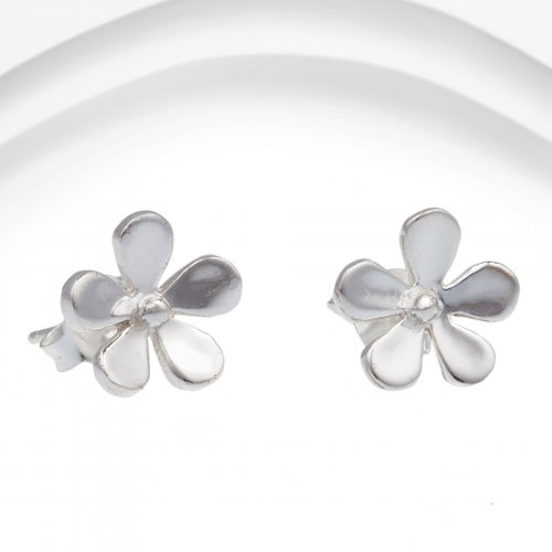 Banyan - Silver Flower Stud Earrings