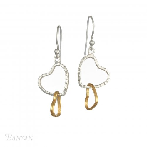 Banyan - Silver and Brass Hearts Earrings
