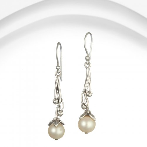Banyan - Pearl Set, Sterling Silver Ornate Drop Earrings