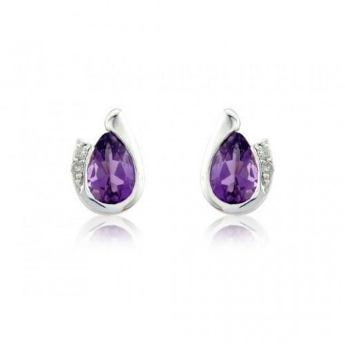 Mark Milton - Amethyst With Diamonds Set, 9ct White Gold Pear Earring