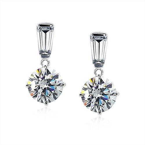 Carat London - Baguette and Round Shaped Cubic Zirconia Set, 9ct. White Gold Drop Earrings