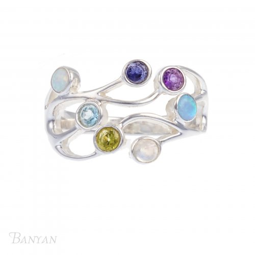 Banyan - Multi-coloured Stone Set, Sterling Silver Ring, Size T