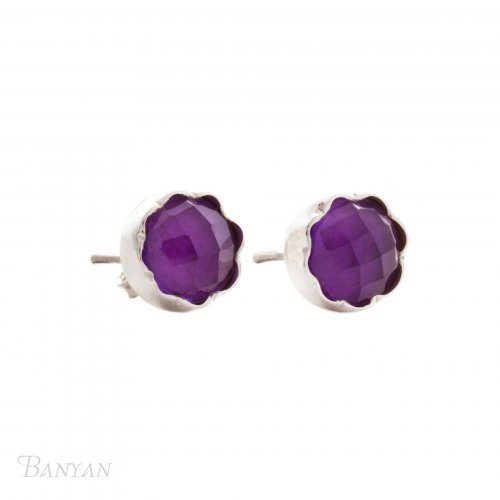 Banyan - Amethyst Set, Sterling Silver Stud Earrings