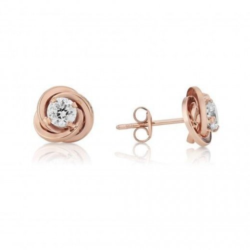 Mark Milton - Cubic Zirconia Set, 9ct Rose Gold Knot Earring