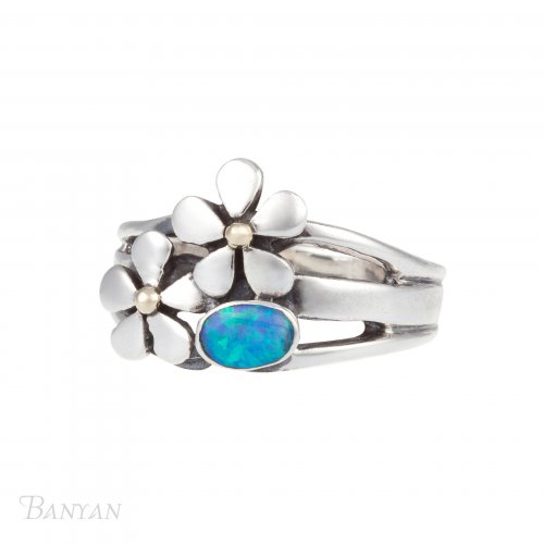 Banyan - Opalite Set, Sterling Silver Oxidised Flowers Ring, Size O