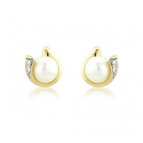 Mark Milton - Pearl With Diamonds Set, 9ct Yellow Gold Pear Earrings