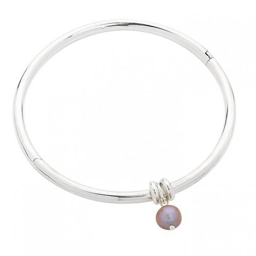 Claudia Bradby - Essential, Silver Pearl Set, Silver Bangle, Size 6.5cm Diameter