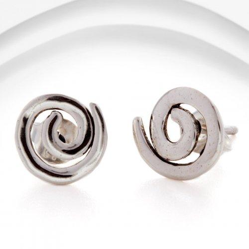 Banyan - Silver Spiral Stud Earrings