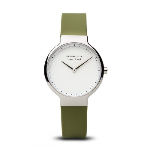 Bering - Max Rene, Ladies Stainless Steel and Silicone Green Interchangeable Strap Watch