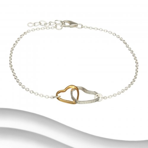 Banyan - Sterling Silver and Brass Two Tone Hearts Bracelet