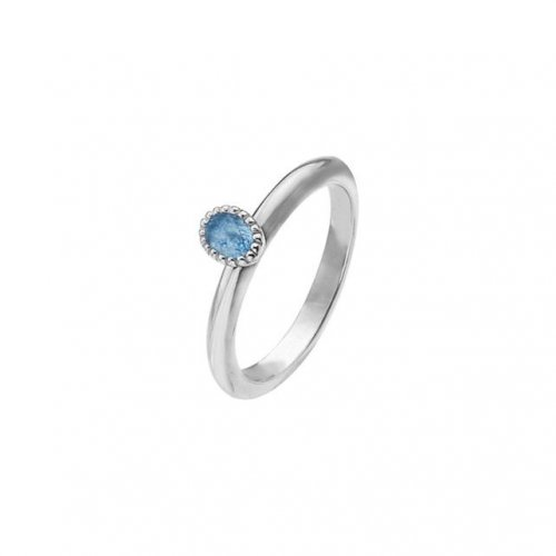 Virtue - Blue Cubic Zirconia Set, Sterling Silver Oval Ring