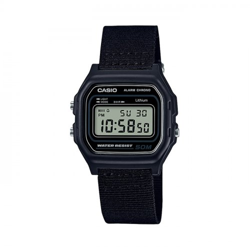 Casio - Classic Retro, Black Resin Case, Black Fabric Strap Digital Chronograph Watch