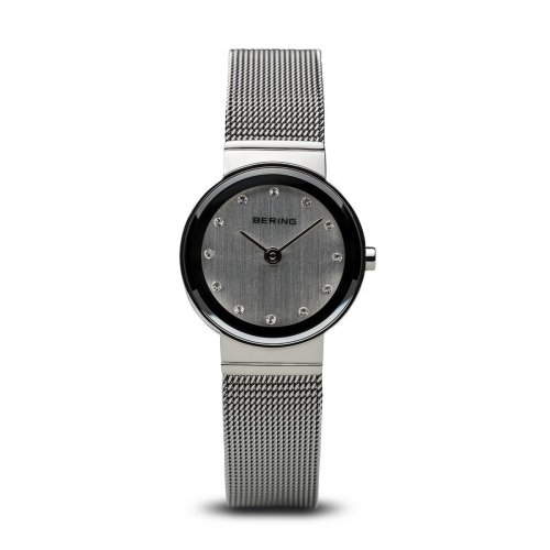 Bering - Ladies, Swarovski Crystals Set, Stainless Steel Mesh Band With Grey Dial Watch