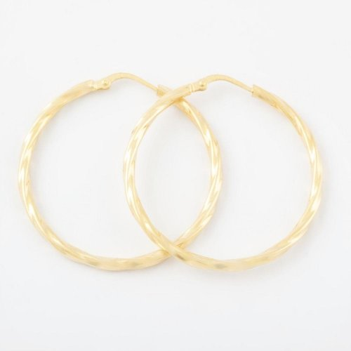 Virtue - Sterling Silver with Yellow Gold Plating Hoop Earrings, Size 30mm
