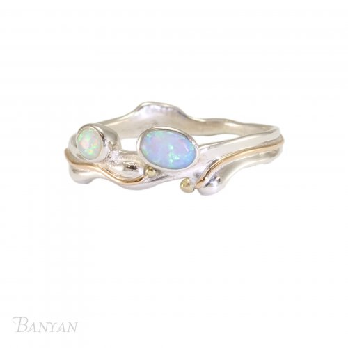 Banyan - Two Opalites Set, Sterling Silver Ring, Size N