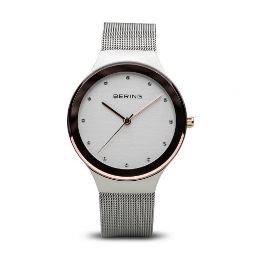 Bering - Classic, Swarovski Crystal Set, Stainless Steel Mesh Strap Watch