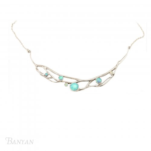 Banyan - Blue and White Opalite Set, Sterling Silver Necklace