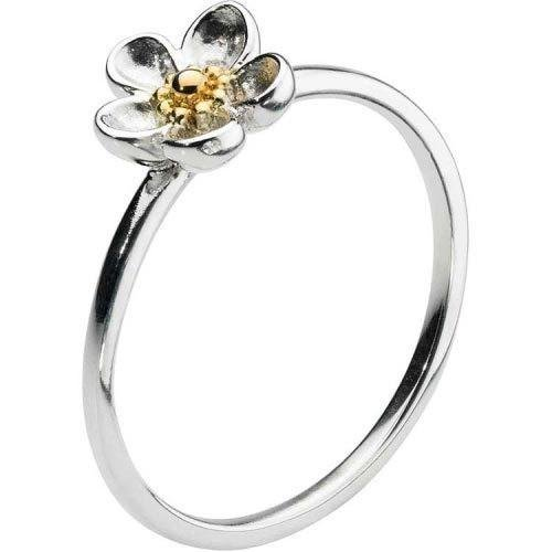 Kit Heath - Wood Rose, Sterling Silver with 18ct. Gold Plate Ring, Size L