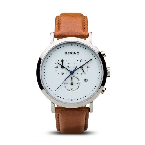 Bering - Men's Classic Collection, Stainless Steel and Brown Leather Chronograph Watch