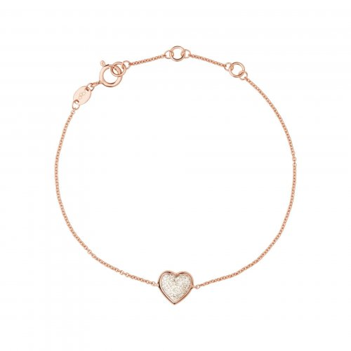 Links of London - Diamond Essential, Diamond Set, Sterling Silver With Rose Gold Plating Heart Bracelet