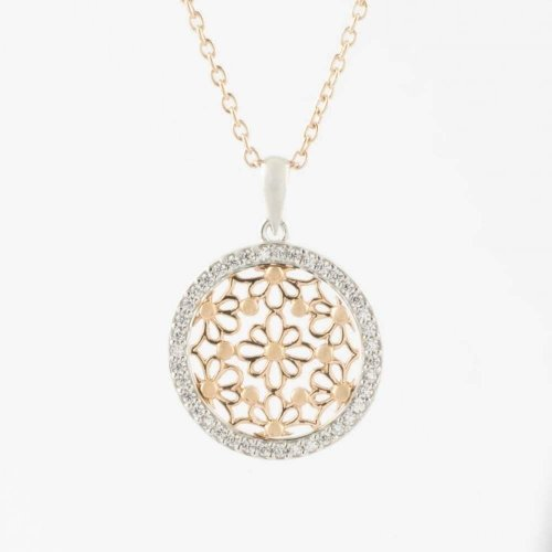 Virtue - Cubic Zirconia Set, Sterling Silver and Rose Gold Plate Circle Necklace