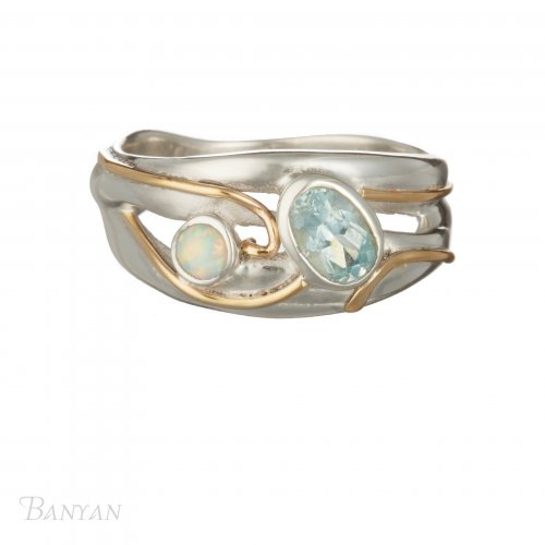 Banyan - Topaz and Opalite Set, Sterling Silver Ring, Size M