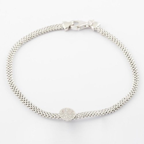 Virtue - Cubic Zirconia Set, Sterling Silver Round Bead Detail Bracelet