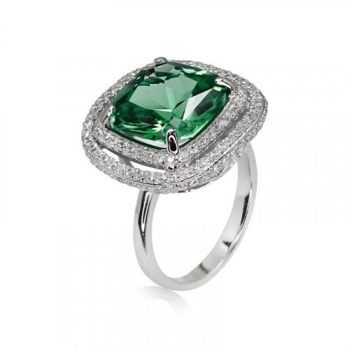 Carat London - Cocktail , Silver Border Set Emerald Green Ring, Size 8(P)
