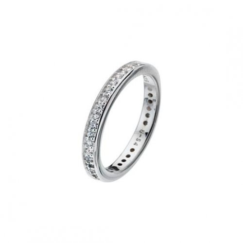 Virtue - Cubic Zirconia Set, Sterling Silver Channel Set White Band Ring