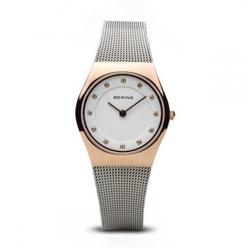 Bering - Ladies Classic, Swarovski Crystal Set, Stainless Steel and Rose Gold Plated Ultra Slim Watch