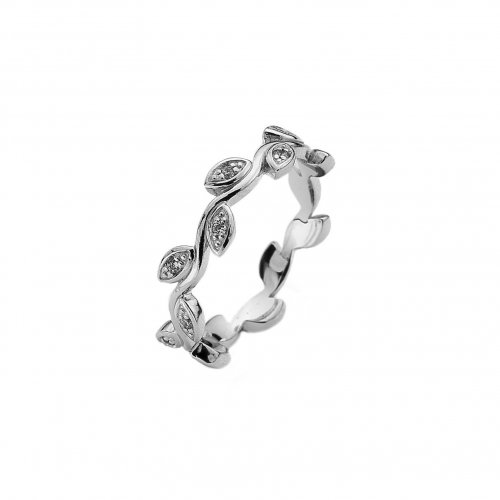 Virtue - Creeper, Cubic Zirconia Set, Sterling Silver Eternity Band Ring
