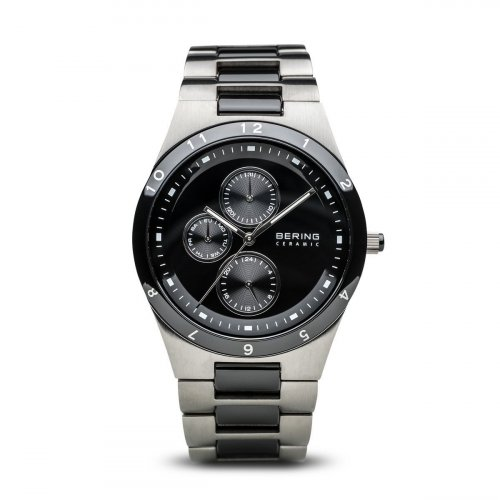 Bering - Men's, Ceramic Collection, Ceramic and Stainless Steel, Silver and Black, Multifunction Watch