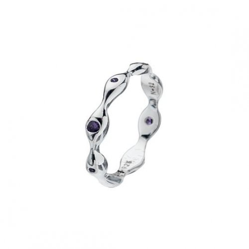Virtue - Wavy, Amethyst Cubic Zirconia Set, Sterling Silver Ring