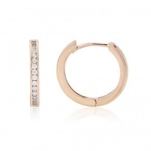 Mark Milton - Cubic Zirconia Set, 9ct. Rose Gold Hoop Earrings