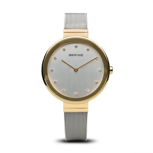 Bering - Ladies Classic, Swarovski Crystal Set, Stainless Steel and Yellow Gold Plated Watch