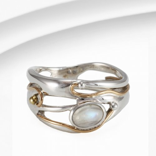 Banyan - Moonstone Set, Sterling Silver Ring, Size N