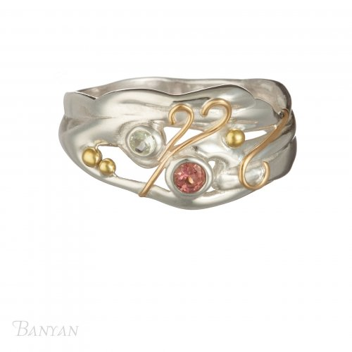 Banyan - Pink Tourmaline and Blue Topaz Set, Silver Ring, Size P