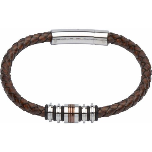 Unique - Brown Leather and Stainless Steel Gents Bracelet, Size 21cm