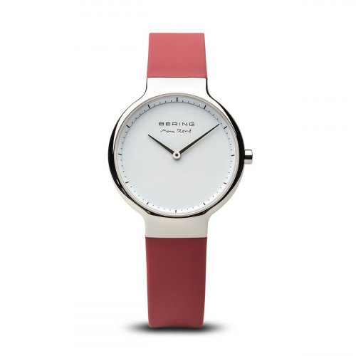 Bering - Max Rene, Ladies Stainless Steel and Silicone Red Interchangeable Strap Watch
